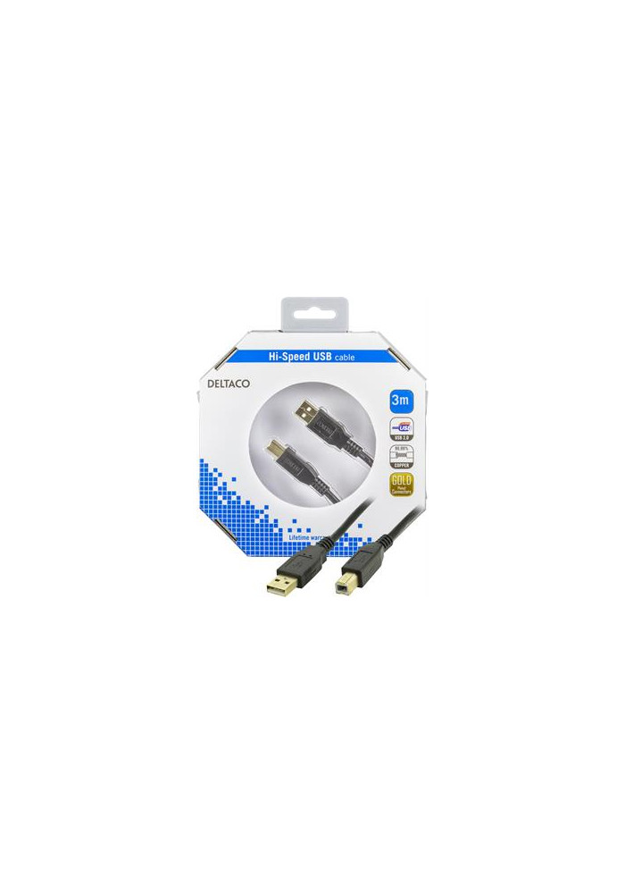 USB A til B 3m i æske