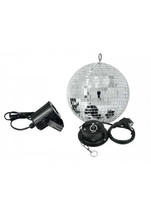 Mirror Ball Set 20cm with LED Spot