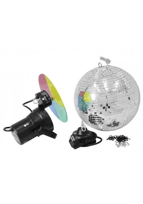 Mirror Ball Set 30cm with Pinspot