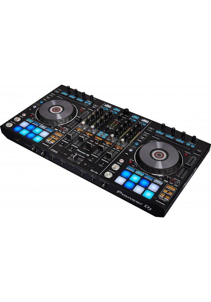 DDJ-RX - DDJ-RXer en 4-kanals controllertil Pioneers egen DJ-software Rekordbox DJ med den grafiske brugerflade integreret i knapper direkte på controlleren.Den harNeedle Search, Grid Adjust,tre Release-effektknapper til hver afspiller adopteretfra remix-stat