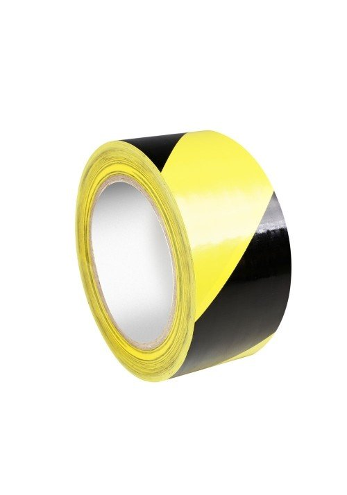 Sikkerheds Tape Gul/Sort 0,15mm x 50mm x 33m