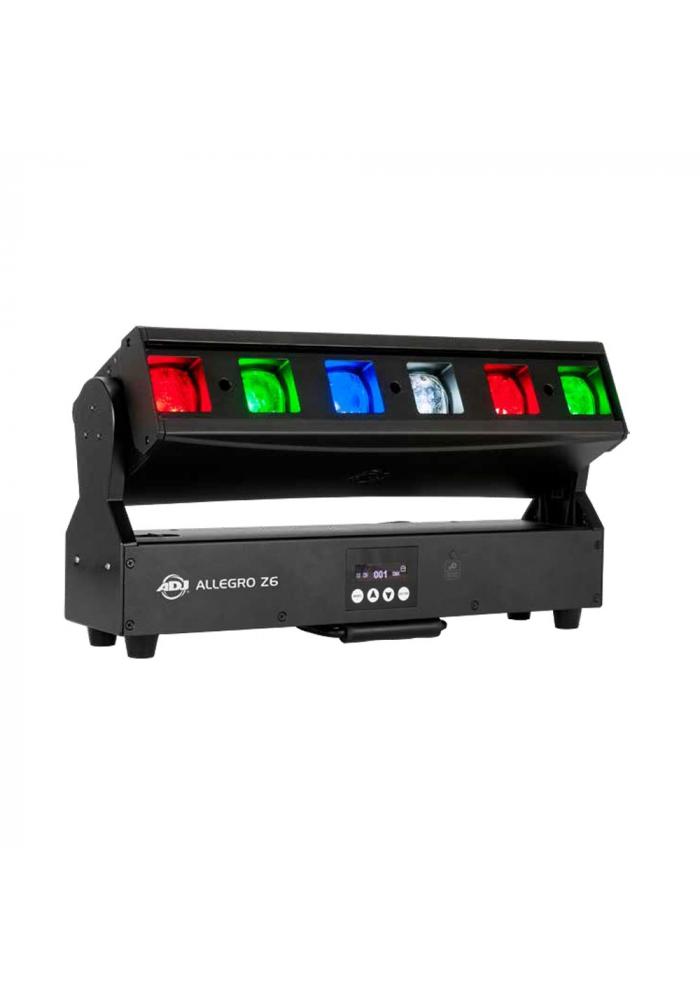 Allegro Z6 - Lampen har 6 individuelle 30W RGBW 4-i-1 LED'er, en ultra-bred 3,5˚- 38˚ motoriseret zoom og 220˚ motoriseret tilt. Yderligere kommer Allegro Z6 med fuld individuel pixelstyring, variable dæmperkurver, DMX, RDM (Remote Device Management), KlingNET ™ og Ar